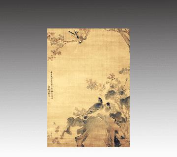 【中国掛け軸】花鳥画掛軸 沈南蘋作