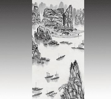 【中国掛け軸】山水画掛軸 白雪石作