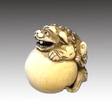 【象牙】象牙根付 獅子像