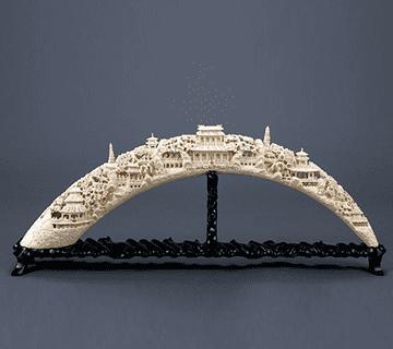全形を保持した楼閣彫象牙 象牙買取情報