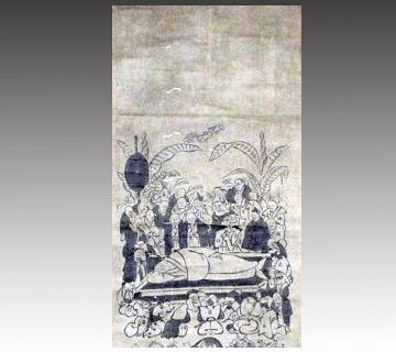 神仏画 芭蕉門流 涅槃図掛け軸