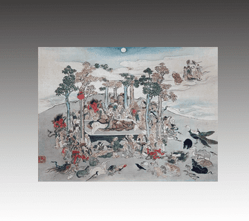 涅槃図掛け軸 和田呉山作 神仏画