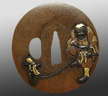 猿回し図彫金赤銅鍔:在銘(乗意)